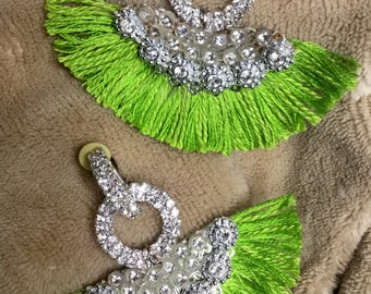 Green shiny half moon Tassels