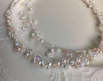 Bridal hair jewelry vine of xxl Pearl Necklace Pearl Necklace haarrdraht tender pink braid