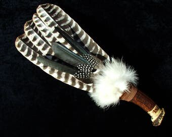 Smudge fan - 3 feather + secondary decoration