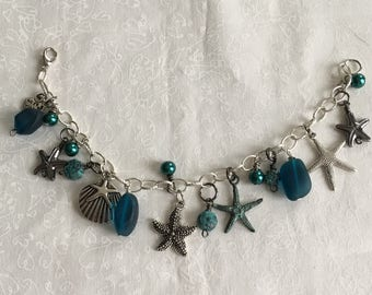 Starfish and sea glass charm bracelet - teal