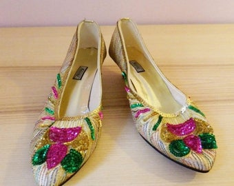 SALE 15% OFF Vintage 80s Sparkling Sequined Kitten Heels - Size US 5.5/Uk 3.5/Eu 36