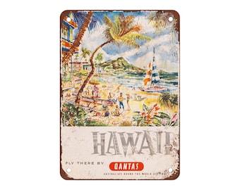 "Quantas to Hawaii - Vintage Look Reproduction 9"" X 12"" Metal Sign"
