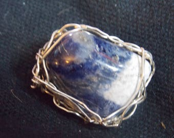 Blue/White wire wrapped handmade pendant