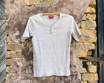 Vintage Oatmeal Henley T Shirt | small | medium
