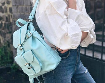 Blue leather backpack, leather backpack woman, leather bag, leather rucksack, leather backpack for women, womens backpack - Classic