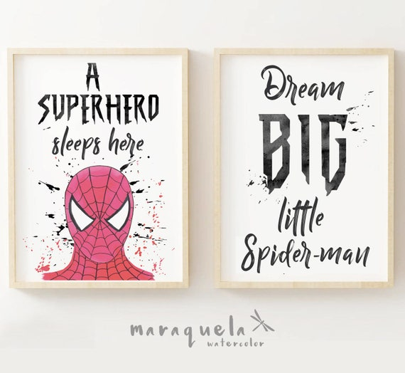 SPIDERMAN SET 2 illustrations Little Superheroes for boy's room.