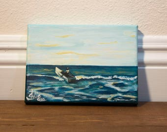 "Small Painting, ""First Love"" Ocean with a man in a boat Original Acrylic Painting on 5 x 7"" Canvas, Wall Art"