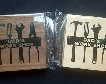 Oak Free Standing Wooden Block Sign - Dad's Workshop Work shop - Wooden Sign Plaque - Fathers Day Gift Dad's Birthday