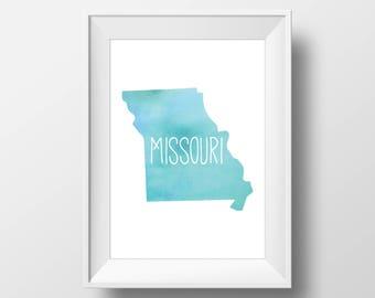 Missouri State Teal Watercolor Printable Art, Missouri Print, Missouri Art, Modern Art,