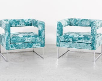 Set of Milo Baughman Open Back Lounge Chairs