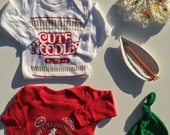 Ramen Soup Combo Deal: Ramen Outfit Set + Sriracha Outfit Set; Baby Gift Combo
