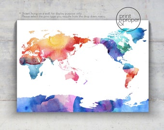 WORLD MAP Watercolour Rainbow - Scandi - Art Print Poster Canvas