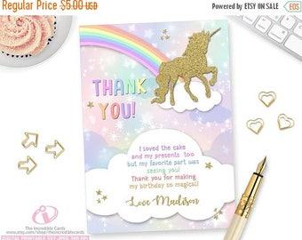 ON SALE Unicorn Thank you card, Unicorn Thank You Card, Rainbow Thank you card, Unicorn, Rainbow, Gold Glitter, Printable, DIY