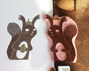 I love my new hat - carving - handmade original of a squirrel, handprinted