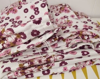 Vintage floral barkcloth Curtains, White with burgundy & pink flowers. Retro drapes