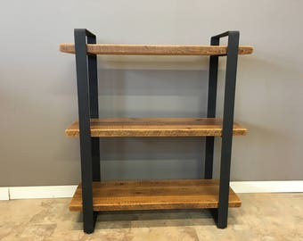 "Reclaimed Wood Shelving Unit | with 3 Shelfs | Industrial custom Urban look with Modern 2"" flat Steel Frame"