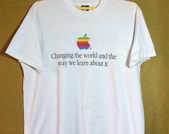 Early 90s Vintage Apples T-shirt 50/50 Poly Cotton XL sSize
