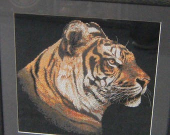 Cross stitched Tiger Framed Picture