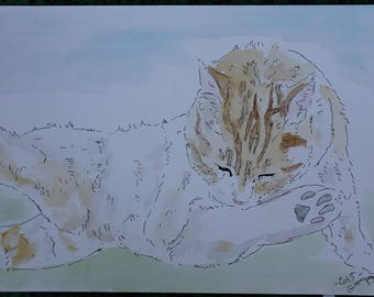 """drawing painting watercolor and ink cat """"Toilet"""""""