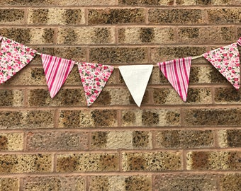 Handmade Bunting Vintage Pink Floral and Stripy