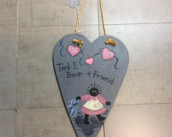 Heart Shaped Ted-E-Bear and Friend - Sign -Wall Hanging- Plaque