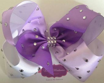 8 inch purple ombré bow with large rhinestones
