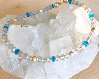 Labradorite Bracelet with Apatite, Delicate Multi Gemstone Beaded Jewelry, 14k gold filled, Dainty Faceted Beads