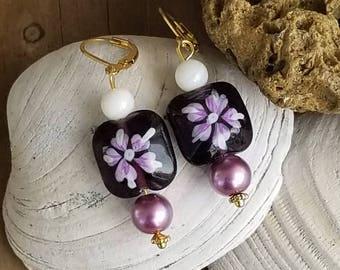 Purple Floral Lever Back Earrings