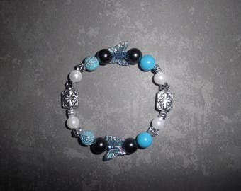 Blue, white and silver fashion bracelet