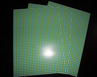 set of 3 paper scrap fancy Plaid green/blue/white 29.5 x 21 cm