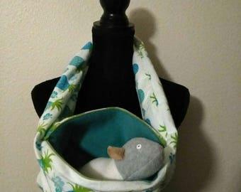 Aqua-teal pineapples zipper bonding scarf, hedgehog bonding scarf, rat bonding scarf, sugar glider Bonding Scarf, hamster bonding scarf