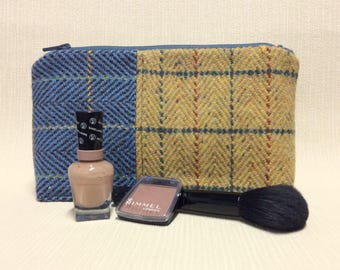 Welsh tweed zipped washbag, Toiletries bag, cosmetics, make-up bag, pencil case in blue and yellow