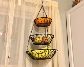 Hanging Fruit Basket, Black Metal Hanging Kitchen Basket, 3 Tiered Fruit  Basket