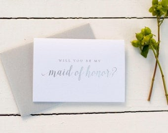 Silver Foil Will You Be My Bridesmaid card bridesmaid proposal bridal party gift bridesmaid gift wedding party card bridesmaid invitation