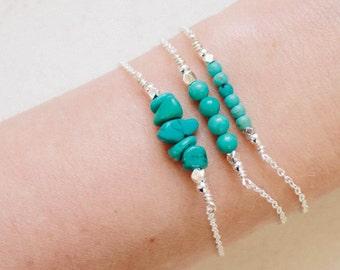 Rustic Turquoise Bar Bracelet - Turquoise Bracelet - Beaded Bar Bracelet - Bead Bar Bracelet - Dainty Gemstone Bracelet - Bead Bracelet