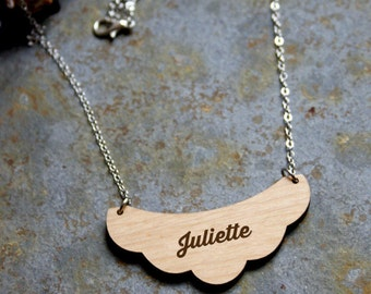 Personalized necklace, wooden jewelry engraved, personalization with your name, custom jewel, unique gift, wood cloud shape, made in France