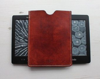 Leather Kindle Case in Brown, Green & Red