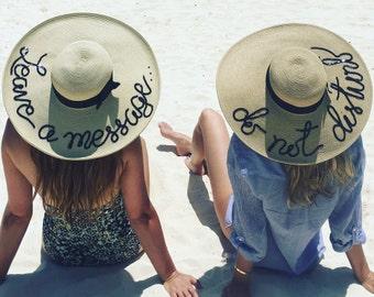 "Ships from NC, USA Custom Personalized Sun hat sequin detail, 6"" brim, do not disturb, custom sun hat, hello sunshine, tequila por favor"