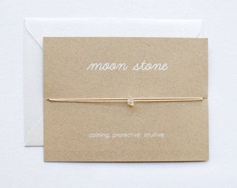 DISCONTINUED - Moon Stone - Crystal Card - friendship necklace or bracelet - gold - bridesmaid gift - birthday - best friends - bff - love