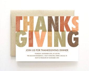 Thanksgiving Dinner Invitations, Unique Thanksgiving Invitation, Modern Harvest Fall Holiday Dinner Invitation PDF, Thanksgiving Printables