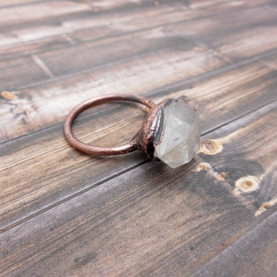 Crystal Quartz Raw Copper Ring - Copper Electroformed Ring size 9 1/2