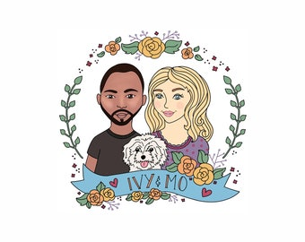 Custom Portrait | Family Portrait | Digital Portrait | Custom Illustration | Couple Portrait | Pet Portrait | Bestie Portrait
