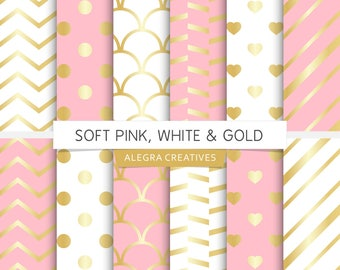 Soft Pink, White & Gold digital paper, light pink and gold, white and gold, gold wedding, scrapbook papers (Instant Download)