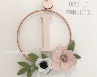 Personalised copper hoop floral wreath with wooden initial