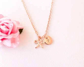 VACATION SALE Rose Gold bow necklace, rose gold bow jewellery, bow jewelry, gift for mother, mothers day, Best Friends, sisters necklace, RG