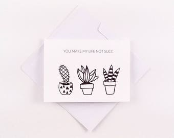 Funny Friendship Card / Cactus Greeting Card / Succulent Greeting Card / Friendship Card / Funny Cactus Card / Funny Anniversary Card