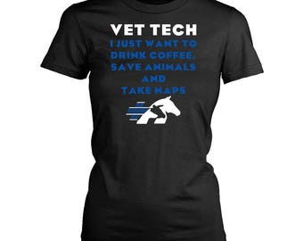 Vet Tech womens fit T-Shirt. Funny Vet Tech shirt.
