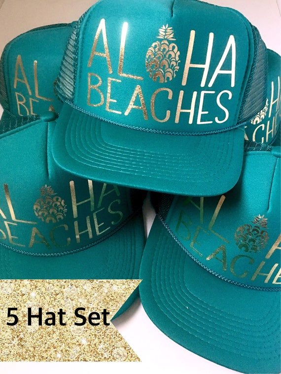 5 Aloha Beaches Hat SET| Party Hats| Bride Hat| Bachelorette Hats| Bridesmaid Hats| Aloha Beaches| 5 Jade Aloha Beaches Hats