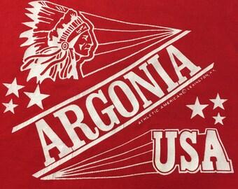 Vintage Argonia Kansas USA Red X-Large Short Sleeve Tee T-Shirt XL