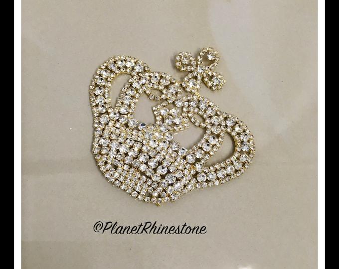 Gold Rhinestone Crown Applique #AF-4